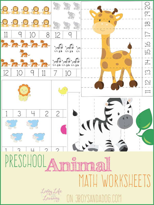 Guest Post on 3 Boys and a Dog – Animal Preschool Math Worksheets