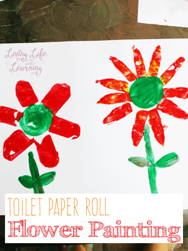 Paint beautiful flowers with toilet paper rolls