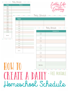 Is homeschool planning stressing you out? Create a daily homeschool schedule to keep your kids on track and on top of your homeschool day.