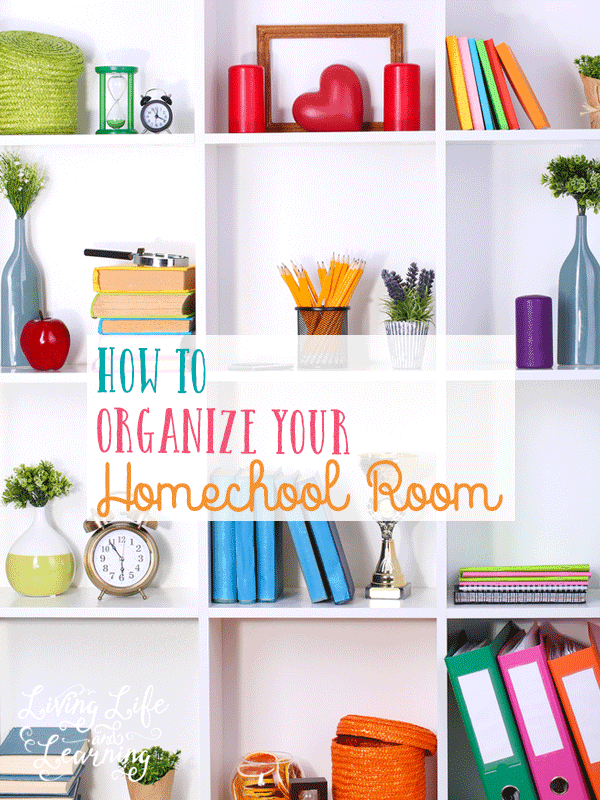 Prepare your home for a great year of homeschooling with tips on how to organize your homeschool room so your kids can find everything they need. Organize your home so that you can homeschool peacefully even if it's the corner of your living room.