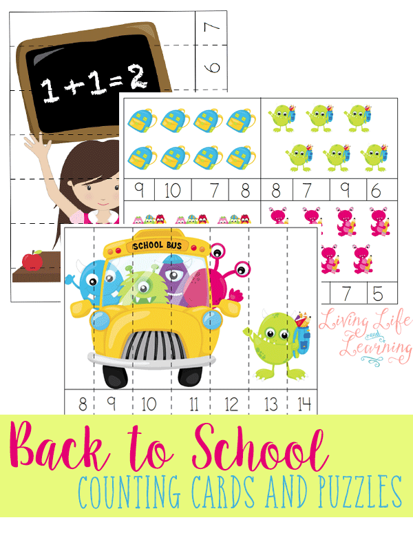 Use these back to school counting cards and puzzles to start your year off right and get counting to 12 in a fun and hands on way for kids! #backtoschool #counting #homeschooling #education