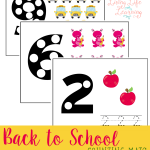 Practice counting with these adorable back to school counting mats as you count up to 10 with your preschooler, counting will be tons of fun.