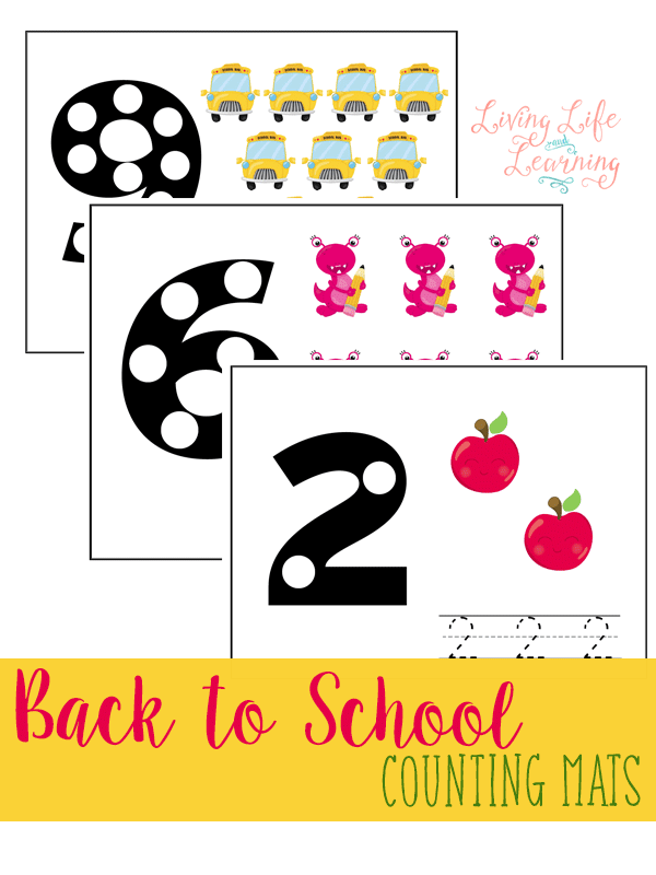 Practice counting with these adorable Back to School Counting Mats as you count up to 10 with your preschooler. Counting together is so much fun!