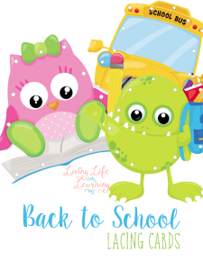 Practice your fine motor skills with these fun back to school lacing cards