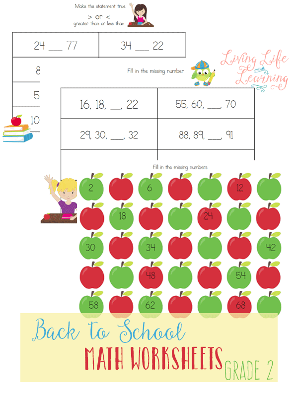Grab these Back to School Math Worksheets for 2nd Grade to practice skip counting and comparing numbers. Learning has never been so fun!
