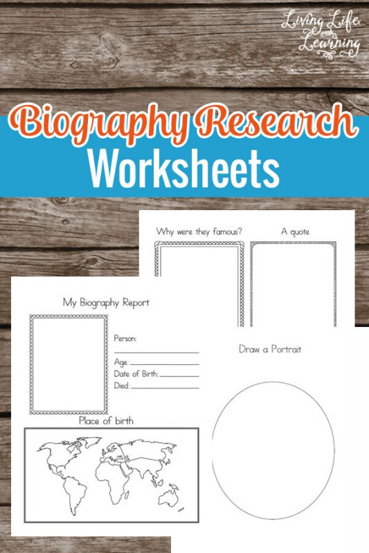 Want to learn about a new famous person? Use these Biography Research Worksheets to research a famous person of history or science. #homeschool #homeschooling #biolographies #writing