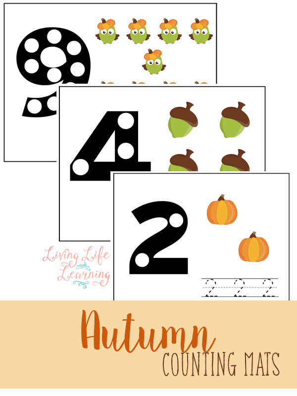 Practice counting with these cute autumn counting mats
