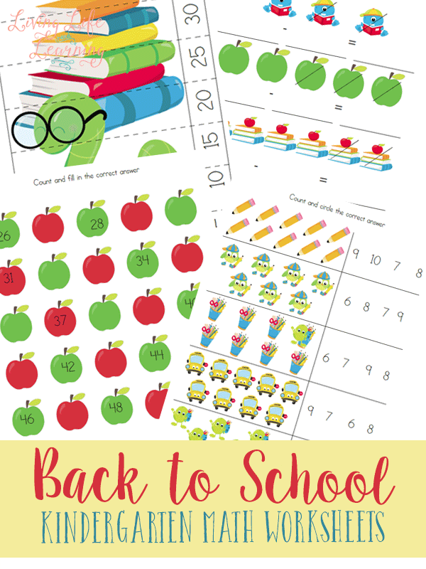 Practice number sense, skip counting, adding and subtracting with these back to school kindergarten math worksheets your kids will love