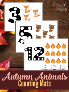 Step into fall with these adorable autumn animal counting mats that are perfect for toddlers and preschoolers