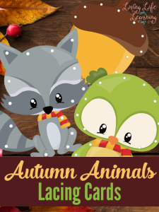 Practice your fine motor skills with these adorable autumn animals lacing cards