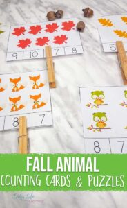 Fall Animals Counting Cards and Puzzles