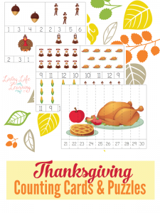 Practice counting and skip counting with these Thanksgiving counting cards