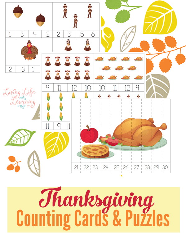 These Thanksgiving counting and cards and puzzles are great for preschoolers and you can use them in several different ways. #Thanksgiving #preschool #homeschool