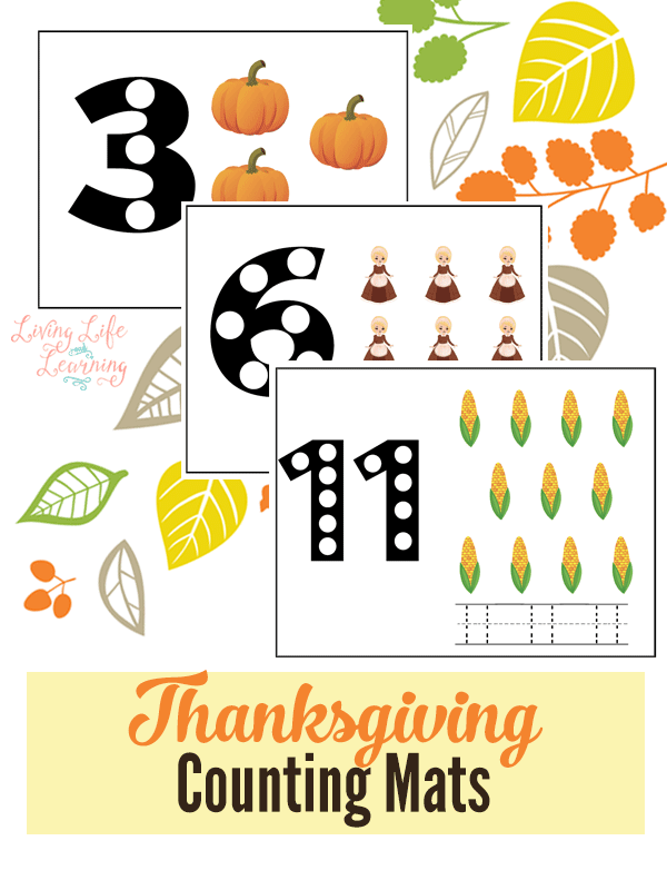 Have fun counting with these Thanksgiving Counting mats (1-12). They are perfect to keep kinds busy while you prepare the Thanksgiving feast!