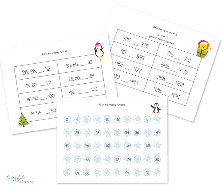 Christmas Math Worksheets for second grade