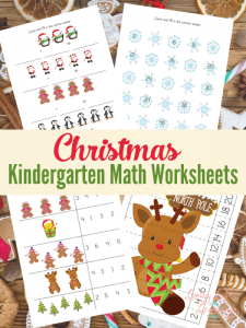 Get into the holiday spirit and add some Christmas kindergarten math worksheets to your homework or take a break from your regular curriculum. Get counting, adding, subtracting, patterning worksheets and puzzles. #Christmas #Math #homeschool #kindergarten #mathworksheets