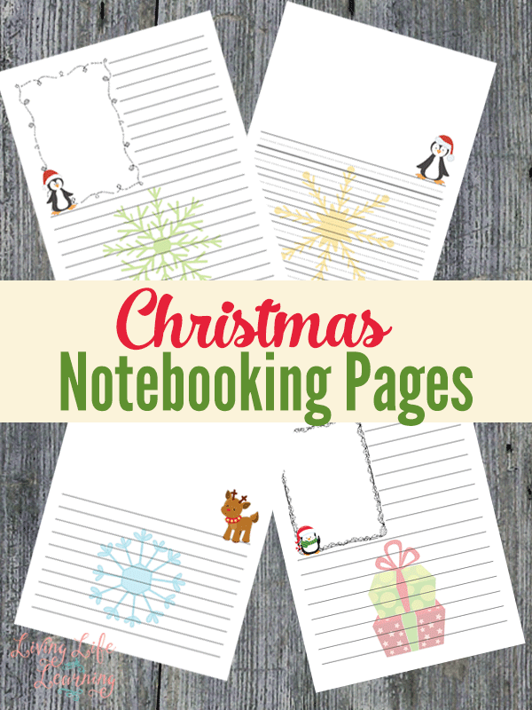 Capture your child's written narrations with these cute Christmas notebooking pages