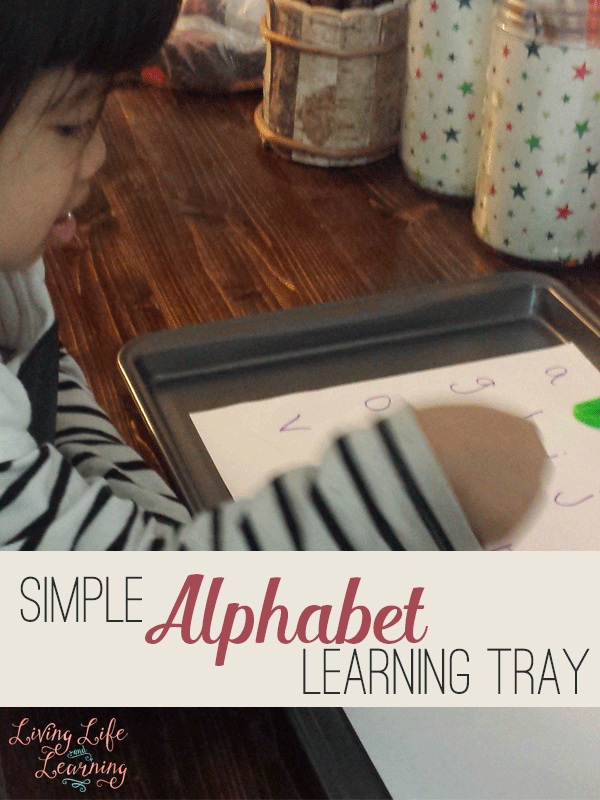 Simple Alphabet Learning Tray is a fun activity for your preschooler to learn her ABCs