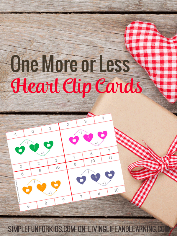 Does your child know to add or subtract by one? These one more or less heart clip cards are a fun way to add math to your day