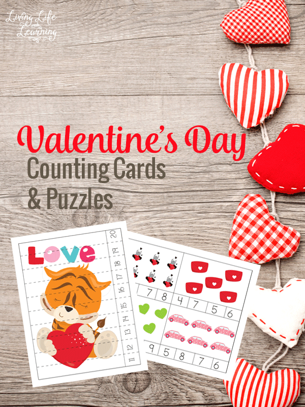 Get counting with these lovely Valentines day counting cards and puzzles! These counting puzzles are a ton of fun. Kids can use clothespins or glass beads for the correct answers on the Valentine's counting cards. #Valentinesday #preschool #counting #homeschool