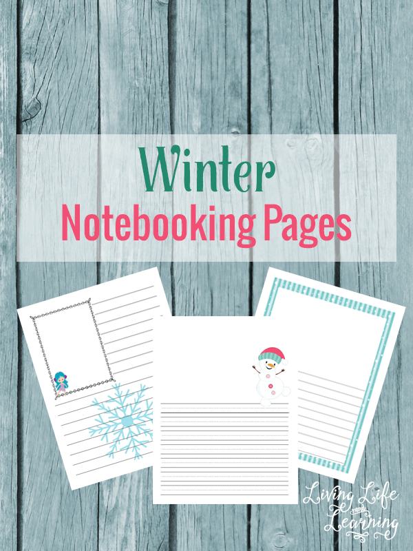 Capture your child's written narrations with these adorable winter notebooking pages for kids. A fun way to get your child writing this winter.