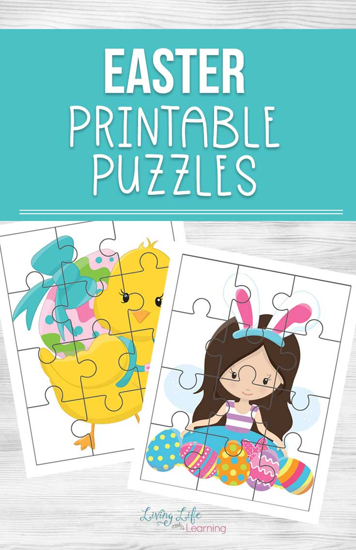 Great your own DIY Easter basket with these adorable Easter printable puzzles. They're a great learning activity and non-candy option for your Easter basket.
