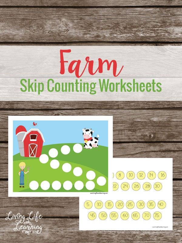 Farm Skip Counting Math Worksheets For Kindergarten