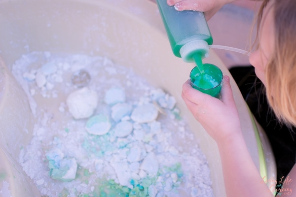 We used previously used baking soda to make Fizzy Treasure Rocks for a very satisfying baking soda and vinegar reaction. My toddler and my preschooler had a blast!