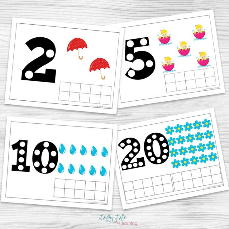fun spring counting mats up to 20 for counting, adding and subtracting