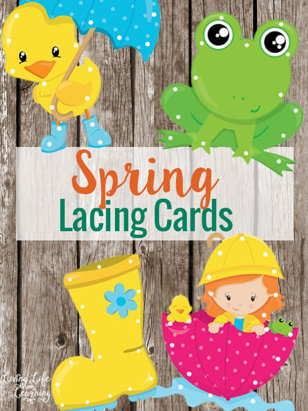 Practice your fine motors skills with these cute spring lacing cards