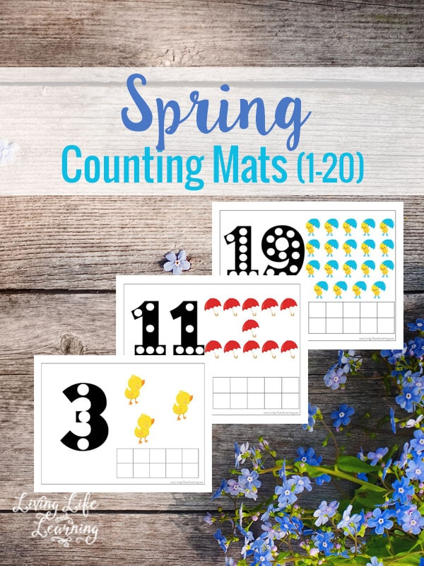 Get your child counting to 20 with these spring counting mats. My daughter loves using pom poms with these.