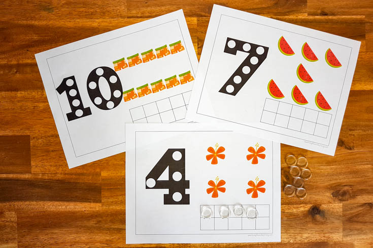 summer counting mats from 1 to 20