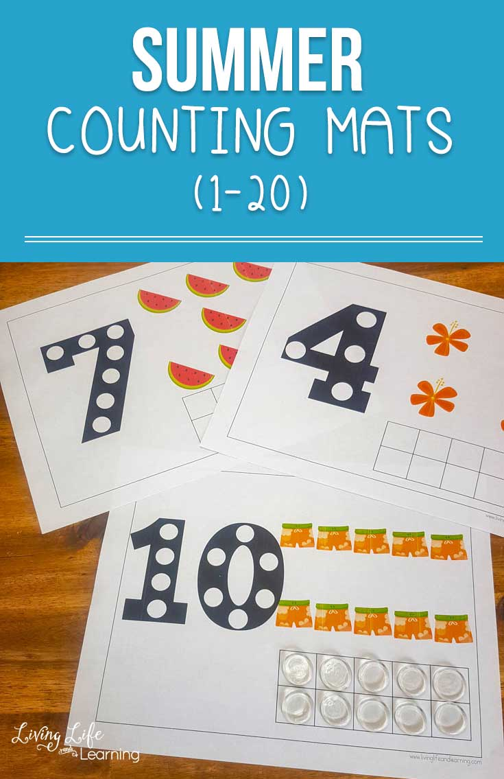 Learning doesn't have to stop when school is out, have fun counting with these summer counting mats up to 20