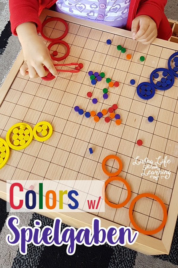 Have fun matching colors with Spielgaben toys while practicing your fine motor skills too. My daughter loves this activity.