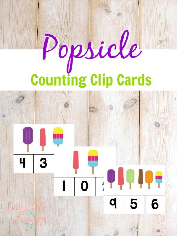 Help your preschooler or kindergartener get ready for the new school year with these printable popsicle-themed counting clip cards!