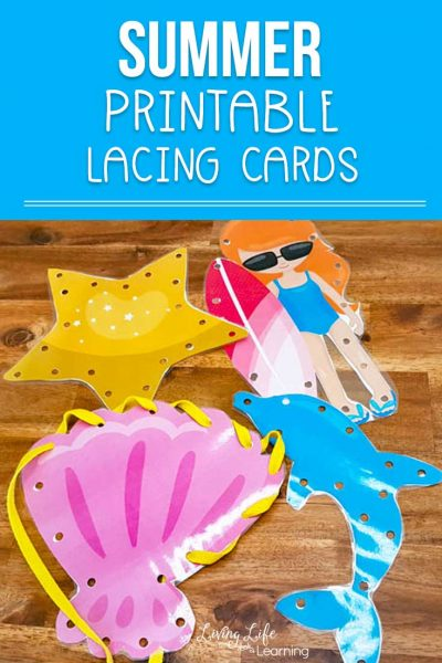 Printable summer lacing cards - create your own lacing cards at home to work on your child's fine motor skills and hand coordination