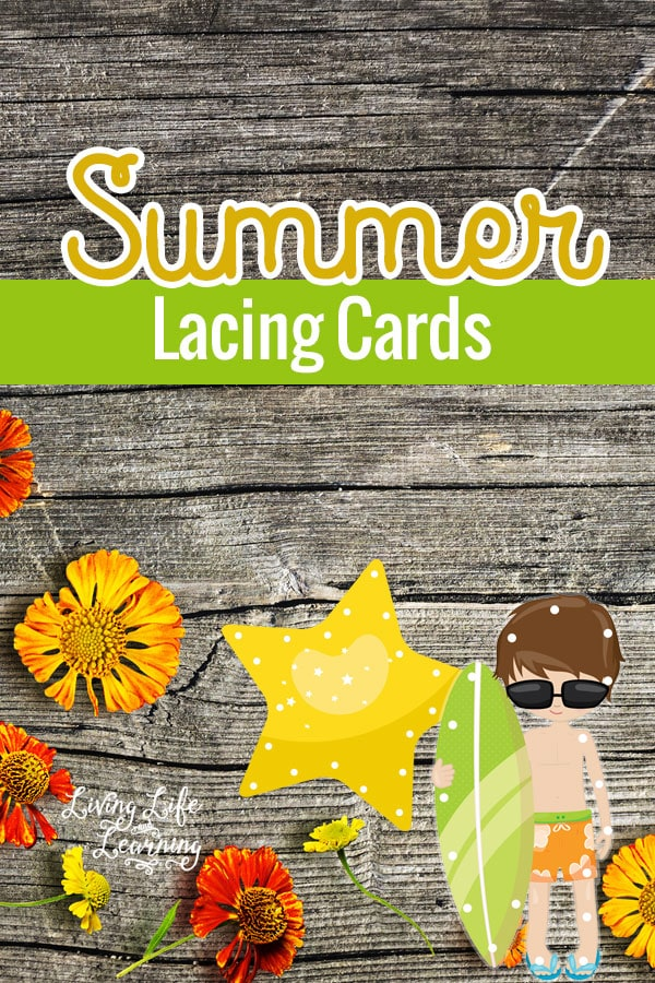 Make your own printable summer lacing cards - a fun activity for your little one to practice their fine motor skills.