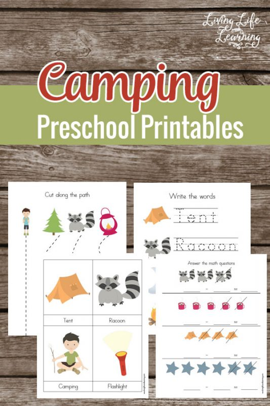 Bring the fun of camping in your school day with these fun camping preschool printables. Use the fun camping themed printables to learn math, counting, fine motor skills and more, perfect for any preschooler who loves camping.