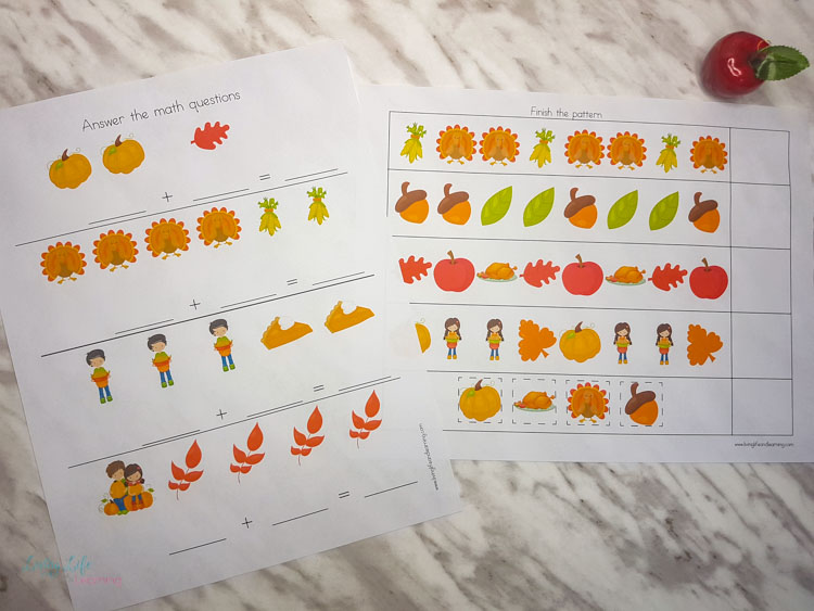 thanksgiving preschool math worksheets
