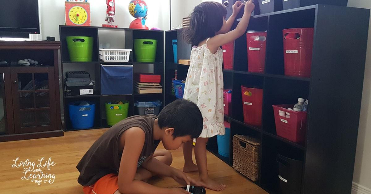 homeschool organization shelves