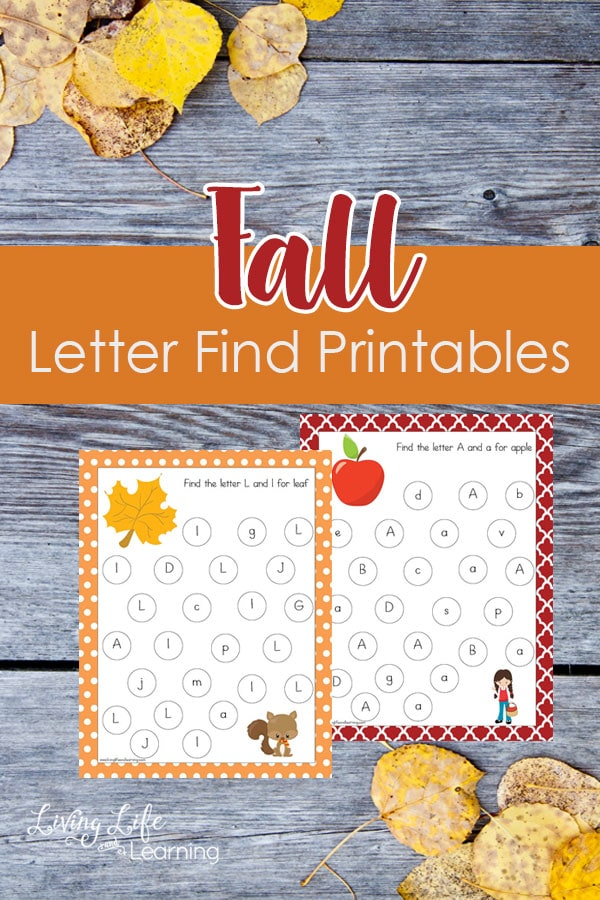 My daughter loves these Fall Letter Find Printables - A fun game to learn upper and lowercase letters and make learning fun searching for the alphabet