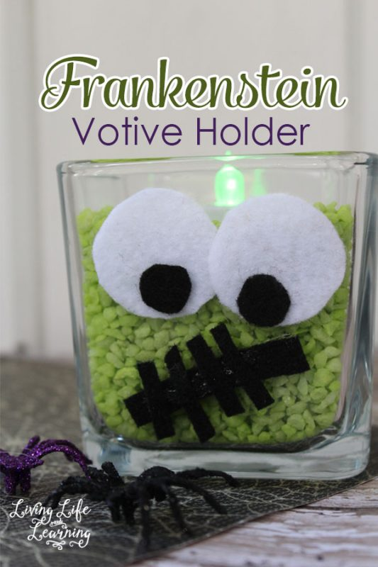 Decorate your home for Halloween with this cute Frankenstein Votive Holder, a simple DIY project with no mess.