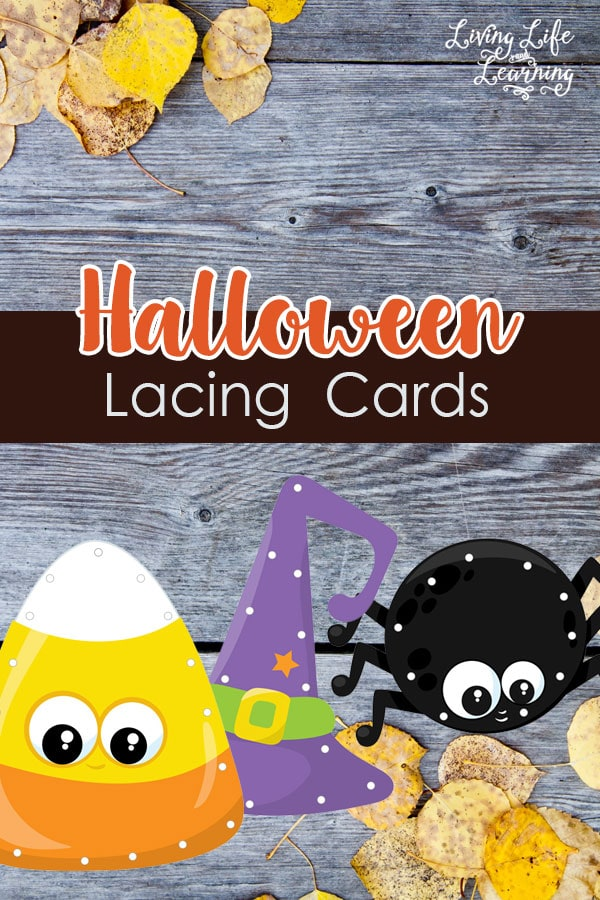 Create your own halloween lacing cards for your child to practice their fine motor skills