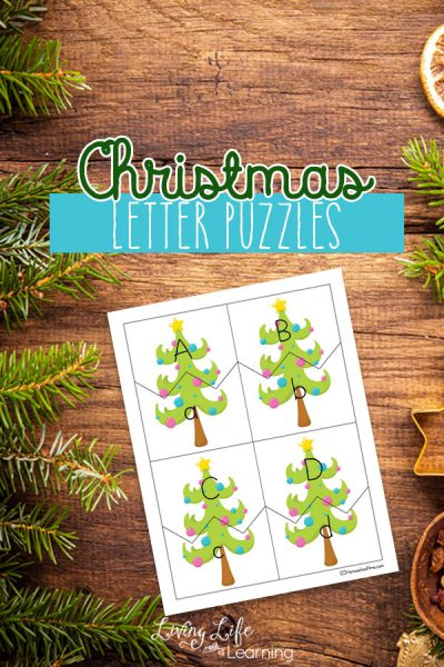 Match up the lower and uppercase letters of the alphabet with these Christmas letter puzzles your kids will love