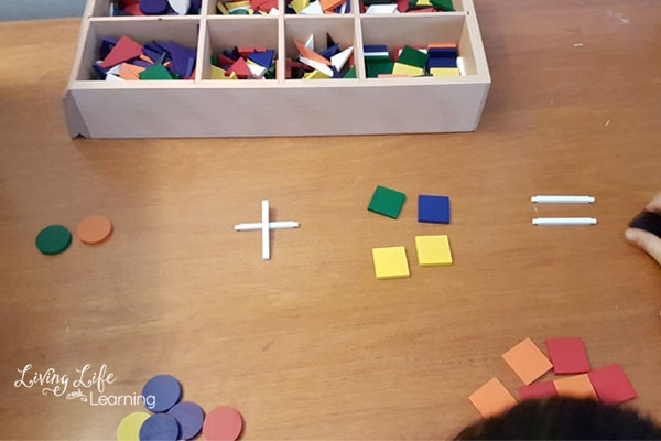 addition and subtraction math with Spielgaben blocks