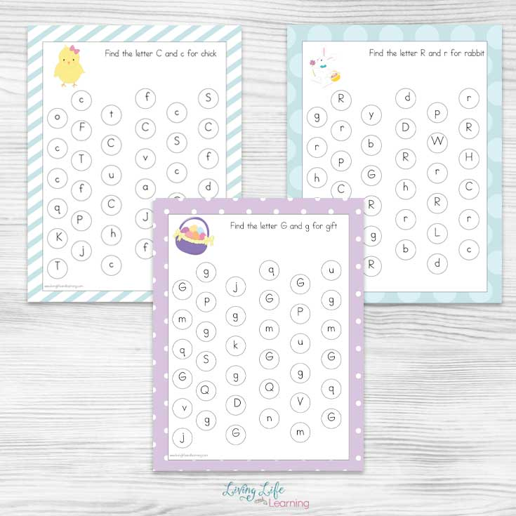 Get these Easter letter find printables to practice upper and lowercase letter recognition in a fun way that your kids will love