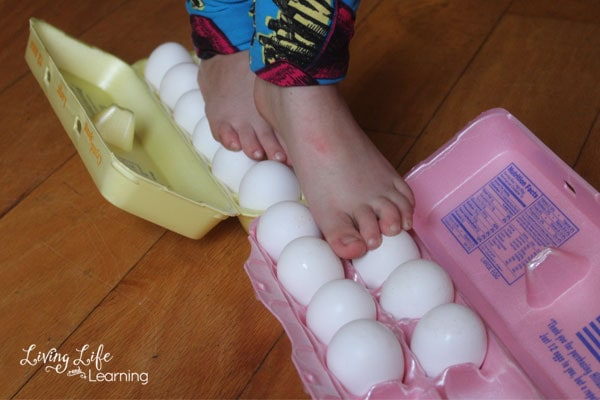 if you're even more daring, try walking on eggs to see if they can support your little one's weight