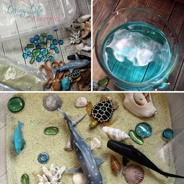 Supplies for an Ocean Sensory Bin