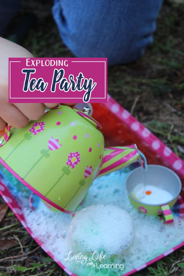 This time, instead of putting our mixture in the typical bowl or pan I thought it would be fun to set it out as an exciting exploding tea party using my daughter's favorite tea set.