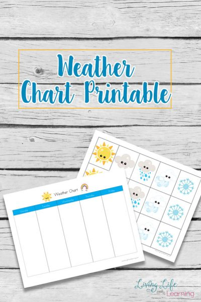 Track the weather patterns with this adorable weather chart printable. Perfect way to learn about the weather and wonderful excuse to get them outside.